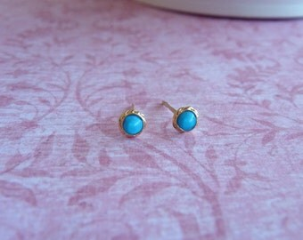 Turquoise Stud Earring with 18K Gold Plate - Stud Earings