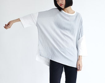 Contrast Color Shirt,White Cotton with Light Grey,Loose Blouse,Lightweight Summer Tops