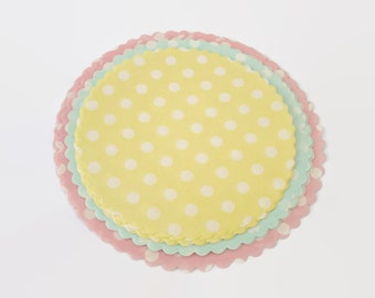 x30 Paper Doilies, Pastel Polka Dots - Scallop Round shape, 3 pastel colors and 3 sizes included, 30 units