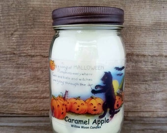 Caramel Apple scented, Halloween candle, black cat, Halloween decor, candles, Handmade Soy candle,  Fall candle, vintage Halloween