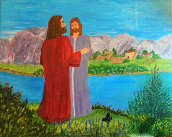 Jesus with Disciple Acrylic Fine Art Painting on Wrapped Canvas artist Rosie Foshee Wall Decor as is or Desk or Tabletop Decor with Easel