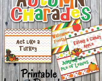 Autumn Charades Party Game Printable - PDF Printable - 32 Different Thanksgiving Charade Prompts on Decorative Cards - INSTANT DOWNLOAD