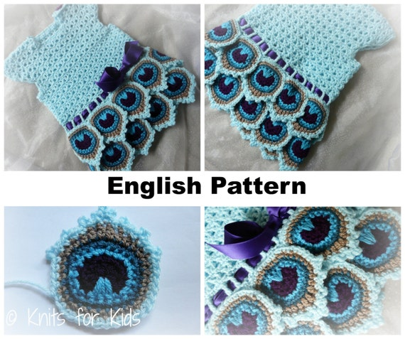 Crochet Patterns In English : English Crochet Pattern Dress Peacock 0-18 by ...