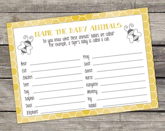 Bee Baby Animals Name Game - Baby Shower Game - Mommy to Bee Baby Shower Games - Gender Neutral Baby shower 241