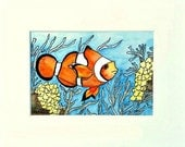 Fish, Painting of Orange Tropical Clown Fish, 8x10 Matted, Ready to Frame