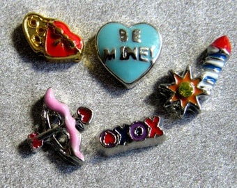 BE MINE Storybook Locket  Necklace Be Mine Box Of Candy Cupids Bow XOXO Fireworks Charms Floating Charms Memory 30mm Stainless Steel Locket