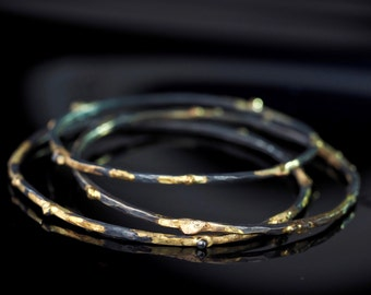 Stacking Bangles in Oxidized Silver and 18K Gold