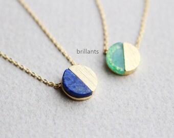 Circle Stone necklace, Geometric stone necklace, Lapis, Chrysoberly necklace, Everyday necklace, Bridesmaid gift, Wedding necklace