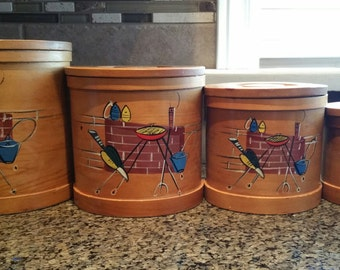 Vintage Wooden Canisters