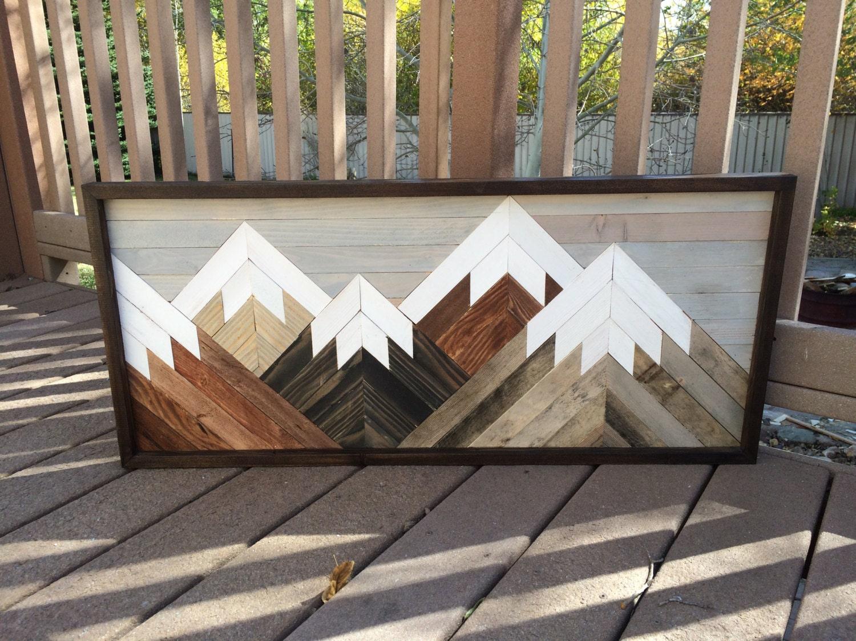 Reclaimed wood wall art mountain scene mantel art cabin - Wall designs with wood ...