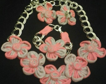 Pink and Gray upcycled tshirt jewelry set