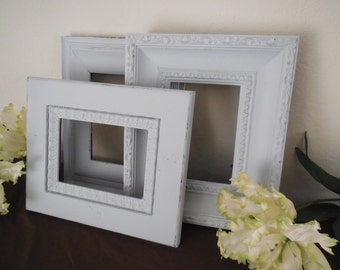 Gray Picture Frame, Set of 3, Grey Ornate Photo Collage, Cottage Sabby Chic 5X7, Gallery Wall, Wedding, Nursery, Home Decor