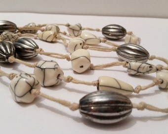 Vintage White Stone and Silver Beaded Necklace Hand Strung