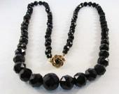 Vintage - Black Beaded Necklace - Rhinestone - Signed Vendome - Single Strand - 1940s - Gift