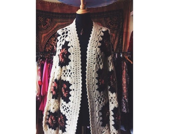 Hand crocheted granny square vintage Cardigan