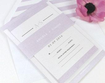 Urban Purple Violet Glamour Modern Elegant Handmade Wedding Invitation Set (Day, Evening, Information Card / RSVP, Lining, Wrapper)