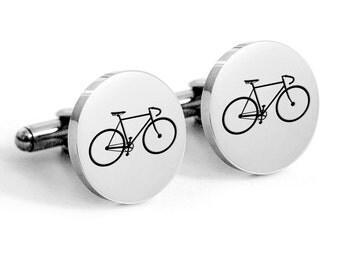 Vintage Stainless steel bike cuff links with engraved, bicycle, retro bike, racing bike, cycle