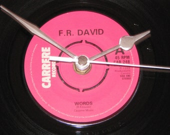 "F.R.David words   7"" vinyl record clock"