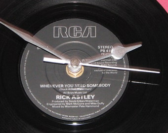 "Rick Astley Whenever you need somebody  7"" vinyl record clock"