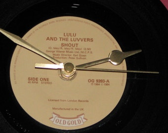 "Lulu and the Luvvers Shout  7"" vinyl record clock"