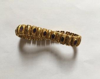 Amethyst & Gold Vintage Bracelet - Gold Filled - Stretch - Filigree Design - Edwardian