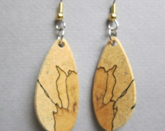 Spalted Tamarind, small Dangle Exotic Wood Earrings, handmade ExoticWoodJewelryAnd ecofriendly earthy
