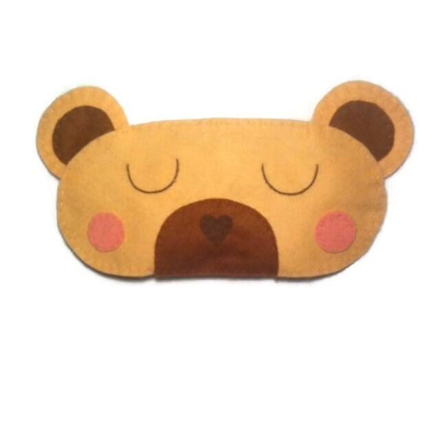 Animal Shaped Eye Pillow : Teddy bear sleep mask Bear eye mask Bear sleep mask Animal