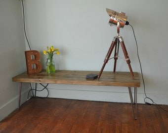 Long Industrial Coffee Table Mid Century Modern Style