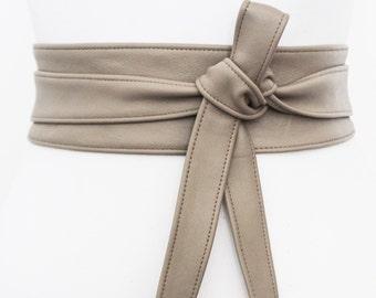 Taupe Grey Leather Obi Belt | Leather tie belt | Real Leather Belt| Handmade Corset Belt | Plus size belts
