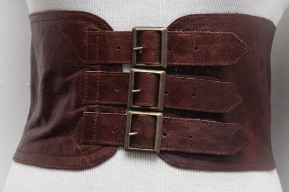 brown corset leather three buckle belt brown waist belt