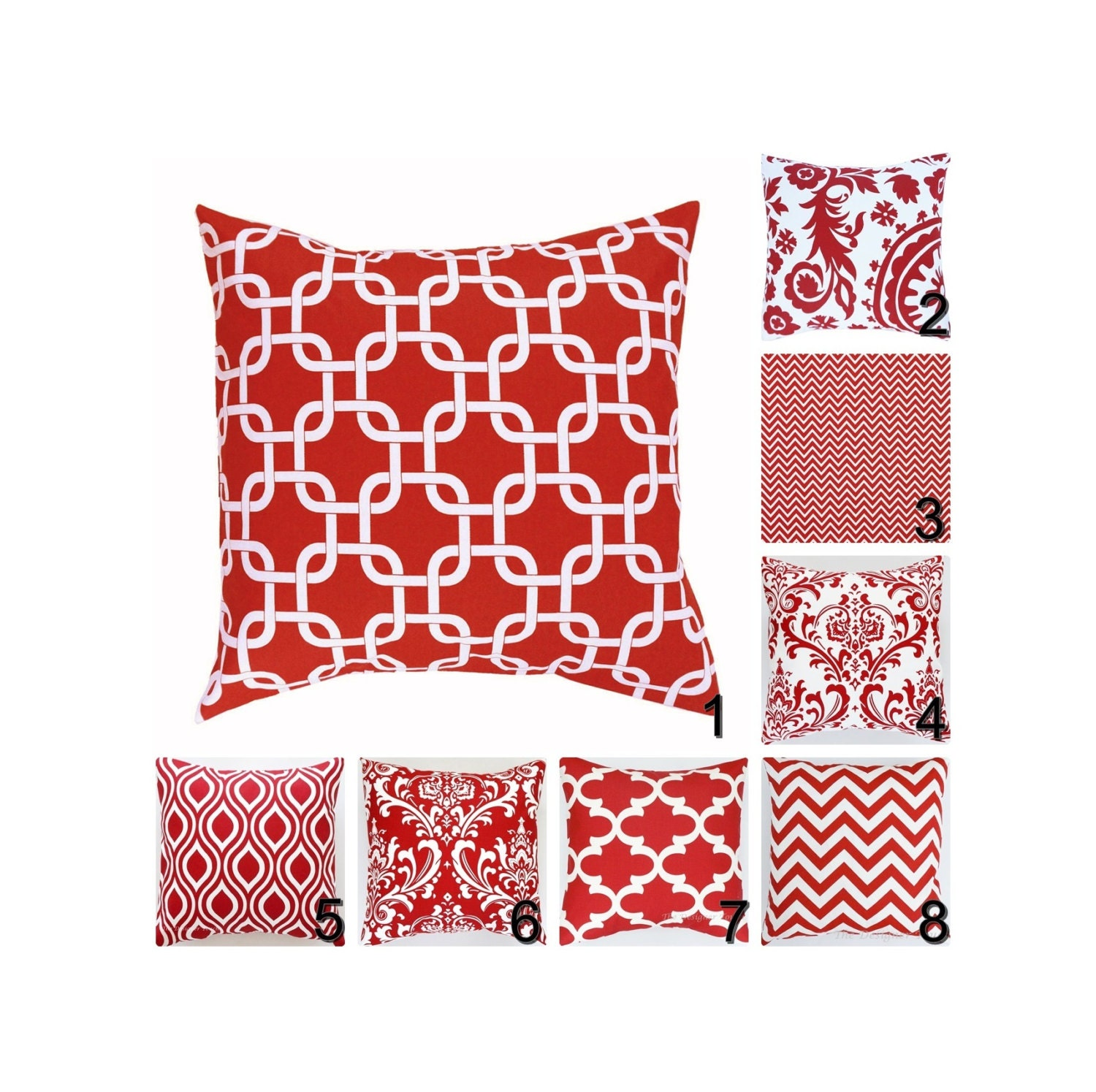 Red Pillow Covers. Red Throw Pillows.Red White Decorative