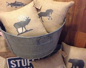 Animal silhouette burlap pillow