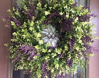 Spring Wreath, Eucalyptus Wreath, Boxwood Wreath, Greenery Wreath, Front Door Wreath