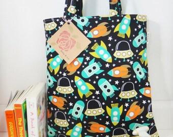 Spaceships Tote Bag, Mini Tote Bag, Boys Bag, Toddler Tote Bag, Boys Tote Bag, Spaceships Boys Bag, Kids Tote Bag