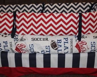 Custom 2 or 3 piece Crib Bedding - Sports Blue Red Navy Modern