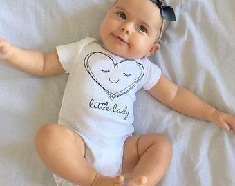 Little lady heart Onesie, girls bodysuit