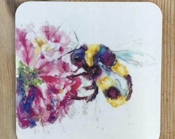Designer watercolour Bumble Bee printed ART  Coaster by Nicola Jane Rowles made in UK