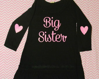 Big Sister Dress! (Black Dress/ Neon Pink Glitter )