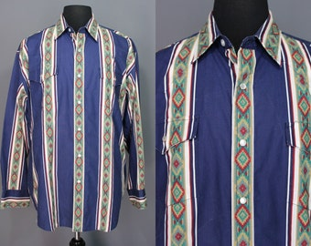 90's Pearl Snap.......90's Southwest Print XL Pearl Snap