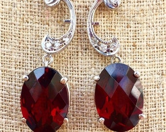 14K White Gold Vintage Style Oval Garnet And Diamond Earrings