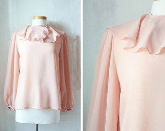 Vintage Pale Pink Blouse   Large to XL   Long Sleeve   Shirt   Flutter Collar   Lloyd Williams   1970s