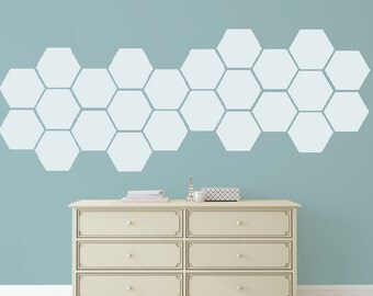 Wall Decals Stickers Hexagons - 1 to 19 inches high Bedroom Nursery Wall Large Wall Art
