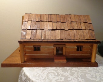 Rustic Wood Lighted Log House, Thatched Wood Roof Log Home, Country Christmas Display, Folk Home Christms Disply,Handmade  Log Home Display