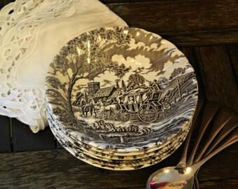Vintage Myott Royal Mail Brown Staffordshire England Ironstone Fruit/Dessert Bowls x 6