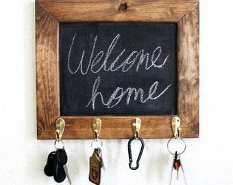 Chalkboard Frame Key Holder. Rustic. Home. Organization. Shabby Chic.