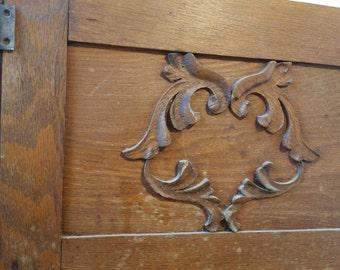 Antique Oak Wood Hutch Cabinet Door Architectural Salvage