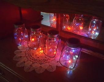 Mason Jar Solar Lid Light - Angel Lights - Firefly Lights- Patriotic 10 LED Red/White/Blue Color Flashing - solar mason jar, mason jar light