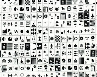 Black/White Stamps by Lecien Half Yard