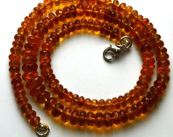 132 Carets 16 inch  Super Rare AAA Golden DarkCitrin Faceted Rondelle  Shape Beads Necklace Size 5 TO 8.5 MM