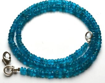 62.00  Carets 16 Inch Strand, Super Finest-Quality- Neon BLUE Apatite Micro Faceted Rondelle  Beads Necklace 3 To 4 MM size